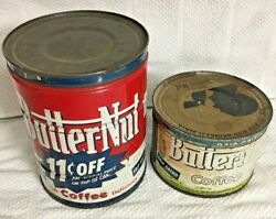 Vintage Set Of Two Butternut Coffee 1 Lb And 2 Lb Tins With Lids