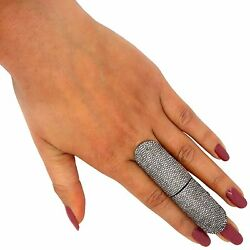 14K Gold Pave Diamond Knuckle Full Finger Ring Silver Jewelry Same Day Shipping