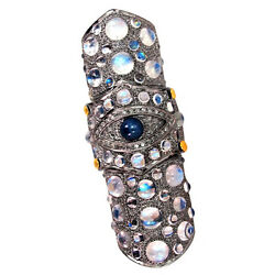 Sapphire/moonstone 14k Gold Evil Eye Knuckle Ring Silver Pave Diamond Jewelry