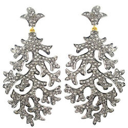 2.85ct Diamond Pave Dangle Earrings 925 Silver 14k Gold Vintage Inspired Jewelry
