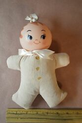 Vintage Baby Doll Plastic Head Hanging Rattle Pink In Color Soft Cloth Body 8