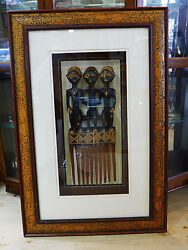 Wooden Native African Tribe In Custom Wood Shadow Box Frame