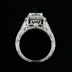 Forever One Moissanite Diamonds Hand Curved Engraved Halo Engagement Ring