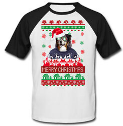 Black Collie merry Xmas COTTON BASEBALL TSHIRT