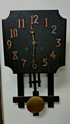 Antique Wood Wall Clock By National Clock And Mfg. Company New Service