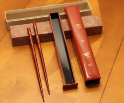 Antique Chopsticks Hand Painted From Japan With Slide Box Rare Very Nice