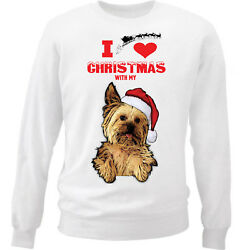 I Love Christmas With My Yorkshire Terrier - WHITE COTTON SWEATSHIRT