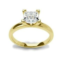 Diamond Ring Princess Square 1 Ct Si2 18k Yellow Gold Size 4.5 - 9 Authentic