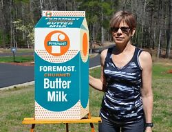 Vintage 50's Foremost Butter Milk Dicut Dairy Sign Unfindable Super Collectable