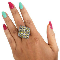 Real 6.9ct Slice Diamond Pave Cluster Cocktail Ring .925 Sterling Silver Jewelry
