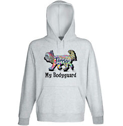 Yorkshire terrier my bodyguard c - NEW COTTON GREY HOODIE