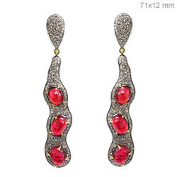Red Spinel 3.55ct Diamond Pave 14k Gold Long Dangle Earrings 925 Silver Jewelry