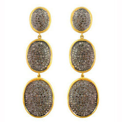14k Solid Gold Pave Natural 6.24ct Diamond 925 Silver Fine Women Dangle Earrings