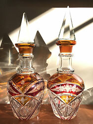 Pair Of Vintage Bohemia Etched And Cut Glass Ruby Amber Wine Decanter With Stopper