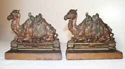 Pair Of High Quality Antique Figural Solid Cold Painted Cast Iron Camel Bookends