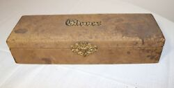 Antique 1800s Handmade Leather Wrapped Ornate Gilt Brass Silk Lined Glove Box
