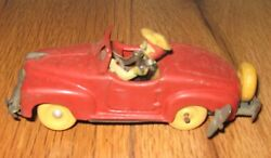 Vintage Antique Red Wind Up Convertible Car Made In Occupied Japan Works Rare