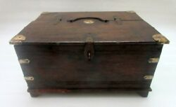 Antique Old Collectible Wooden Hand Carved And Brass Work Big Money And Jewelry Box