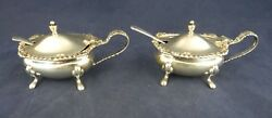 Sheffield Cooper Brothers And Sons Sterling Silver Condiment Mustard Pots Spoons