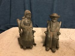 Amish Couple In Rocking Chairs- Vintage Aluminum Metal - Set Of 2 -
