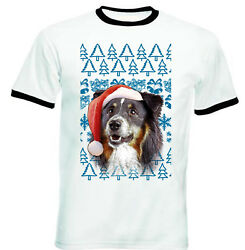 Black Collie Christmas Santa BLACK RINGER COTTON TSHIRT
