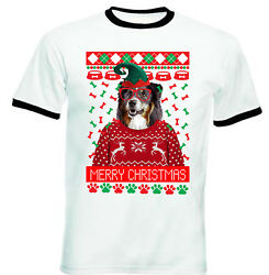 Black Collie Christmas BLACK RINGER COTTON TSHIRT