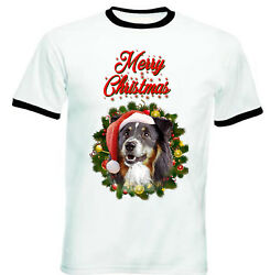 Black Collie merry Christmas Santa BLACK RINGER COTTON TSHIRT