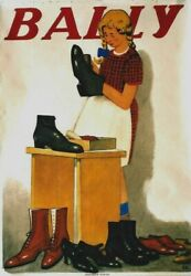 Original Vintage Poster Bally Shoes Girl Cleaning C.1930 Cardinaux
