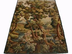 A Beautiful Antique Tapestry With Castle, River And Trees, 3 Of 4