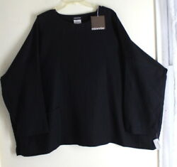NWT Eskandar Lux 2 CLASSIC Black 100% Linen Round Neck Long T-Shirt Pocket Top