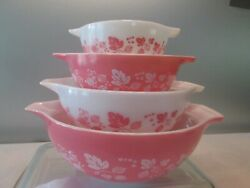 Vintage Set of 4 Pyrex Pink Gooseberry Cinderella Mixing Bowls- Exc. Condition