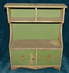 Awesome Antique/vintage Primitive Green And Cream Doll Kitchen Hutch/cupboard
