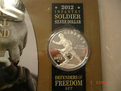 2012-w Infantry Soldier Defenders Of Freedom Proof Silver Dollar Special Setsx40
