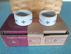 Longaberger Usa Pottery Napkin Rings Set Of 2 Traditional Red New W/box