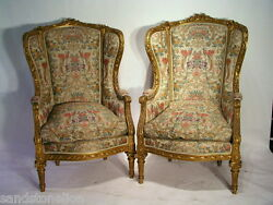 Antique PAIR LOUIS XVI BERGERE WING CHAIRS MUSEUM QUALITY WGoverment Papers