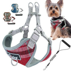 Front Lead Dog Harness Leash with Soft Padded Handle Mesh Padded Vest for Yorkie