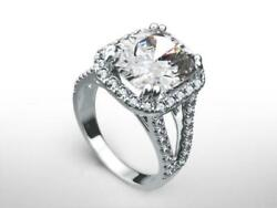 WOMENS DIAMOND HALO RING ACCENTED VS D GENUINE 14K WHITE GOLD 5.5 CARATS ESTATE