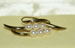 VINTAGE MIKIMOTO 14k GOLD Pearl CLUSTER BROOCH PIN 6 PEARLS