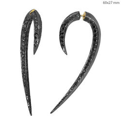 Sterling Silver Black 4.93ct Diamond Pave 14k Gold Tunnel/double Sided Earrings