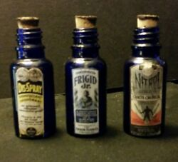 Vintage Style Small Embalming Bottles Colbalt Blue ..handcrafted By Artist.nice