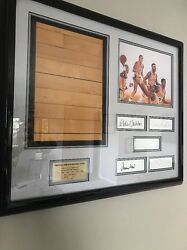 Magic Johnson-piece Of The The Forum Floor With 5 Hall Of Famer Autographs