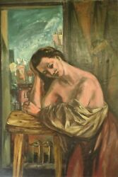 Frederic Taubes Woman At The Window Oil On Canvas 1948
