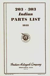 1932 - 203 And 303 Indian Motorcycle Parts List - Antique Reproduction