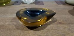 Thick Vintage Blue Murano Glass Sommerso Geode Bowl By Archimede Seguso