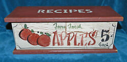 Awesome Painted Wood Apple Double Recipe Box With Lid Very Nice