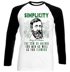 HENRY DAVID THOREAU SIMPLICITY QUOTE - NEW BLACK SLEEVED BASEBALL COTTON TSHIRT $20.86