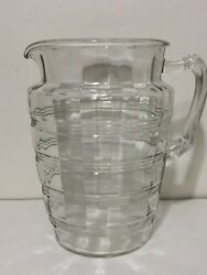 8 Retro Vintage Clear Glass Striped Beverage Pitcher Ribbed