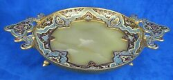 Antique French Gilt Champleve Enameled Bronze Over Onyx Plateau Centerpiece