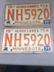 Match Number Set Pair 1974 Nh 5920 Minnesota Mn License Plate Tag Embossed 10000