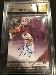 2018 Mike Trout Autograph Topps Now Mlb Greats 1000 Career Games 15/25 Bgs 9/9